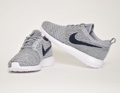 #Nike Flyknit Roshe Run Grey/Blue #sneakers