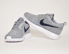 #Nike Flyknit Roshe Run Grey/Blue #sneakers