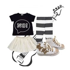 GIRLS LOOK !!! T-Shirt by Lucky No. 7 - Skirt by Lebig - Leggins by Diapers and Milk - Shoes by Happiness