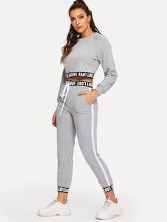 Shop Raglan Sleeve Letter Taped Top With Pants online. SHEIN offers Raglan Sleeve Letter Taped Top With Pants & more to fit your fashionable needs. Sporty Outfits, Trendy Outfits, Girl Outfits, Cute Outfits, Fashion Outfits, Vetement Fashion, Drawstring Pants, Two Piece Outfit, Clothing Co