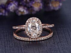 2pcs 5x7mm oval cut moissanite bridal ring set,diamond engement ring,Solid 14k rose gold promise ring,Half eternity wedding band,Halo by Yridesign on Etsy https://www.etsy.com/listing/479255294/2pcs-5x7mm-oval-cut-moissanite-bridal
