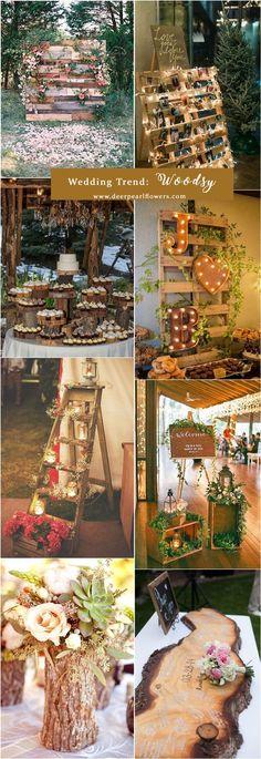 rustic wooden wedding ideas / http://www.deerpearlflowers.com/top-6-wedding-trends-for-2018/