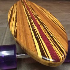 "Bamboo with Purple Heart and Neopolitian Bamboo inlays and rails. 35.5"" hybrid pintail"