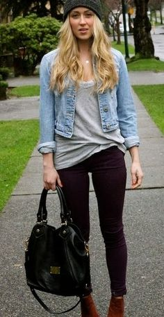 Street style beanie denim coat.