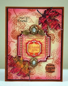 Shabby Chic Autumn Leaves card designed by Kellie Fortin