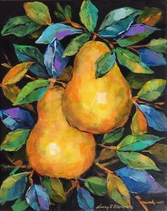 """Daily Paintworks - """"Golden Pears"""" - Original Fine Art for Sale - © Nancy F. Small Canvas Paintings, Mini Canvas Art, Acrylic Painting Canvas, Watercolor Fruit, Watercolor Paintings, Fruit Painting, Cow Art, Guache, Fruit Art"""