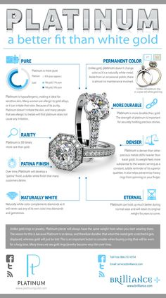 Find out what the differences are between platinum vs white gold and how that applies to a diamond jewelry setting with this visual stunning infographic. Platinum Wedding Rings, Platinum Engagement Rings, Platinum Ring, Platinum Jewelry, Jewelry Sets, Fine Jewelry, Ladies Jewelry, Jewellery Stand, Jewelry Tools