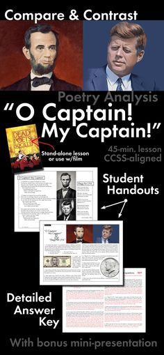 "Connect Walt Whitman's ""O Captain! My Captain"" to the real world in this compare/contrast activity. Click HERE!"