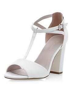 Cream Bridal T-Bar Block Heels | New Look