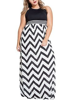Looking for the perfect Zkess Womens Sleeveless Striped Wavy Pattern Casual Long  Dress Plus Size X-Large Size Blue  Please click and view this most popular  ... 86110782ab5a