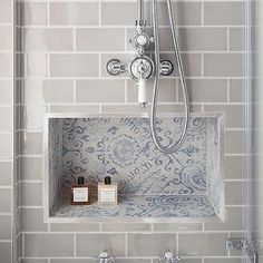 Blue Mosaic Tiled Shower Niche