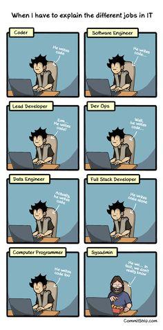 Quand je dois expliquer les différents métiers IT Humour Geek, Tech Humor, Funny Cartoons, Funny Comics, Funny Jokes, Computer Jokes, Computer Science, Programming Humor, Computer Programming