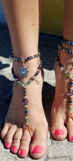 Celestial foot jewelry and anklets ☽☼☾ Foot Jewelry •  Barefoot Sandals • Anklets • Bracelets
