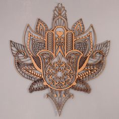 Hamsa hand with lotus. More