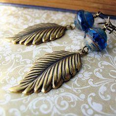Teal Blue Beaded Leaf Charm Earrings Antique by jFrancesDesign, $24.00