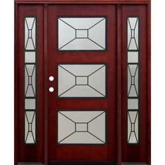 Pacific Entries 36 in. x 80 in. Contemporary 3 Lite Mistlite Stained Mahogany Wood Prehung Front Door with Grille and 14 in. Sidelites-M53R413 - The Home Depot