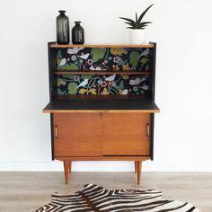 meuble secrétaire vintage noir