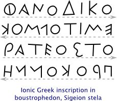 """Early Greek was written right-to-left, just like Phoenician. However, eventually its direction changed to boustrophedon (which means """"ox-turning""""), where the direction of writing changes every line. Boustrophedon was an intermediate stage, and by the 5th century BCE, left-to-right became the de-facto direction of writing."""