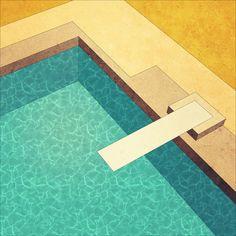 Pool art print by Herb Vaine