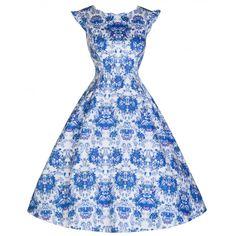 'Ruth' Delightfully Darling Vintage Print 40's 50's Inspired Tea Dress