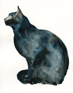 ...CAT by DIMDI Original watercolor painting  I think watercolor is a beautiful but exacting medium.  I respect anyone who can master it.