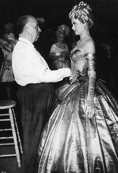 Director Alfred Hitchcock and Grace Kelly on the set of 'To Catch a Thief', 1955.