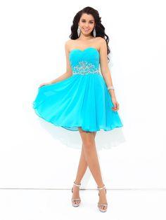731c2aa6ff0 A-Line Princess Sweetheart Pleats Sleeveless Short Chiffon Cocktail Dresses  - Homecoming Dresses -