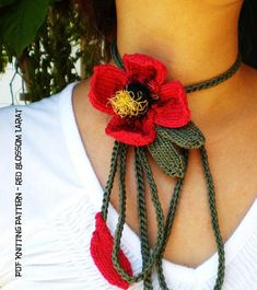 PDF Instructional Knitting Pattern Knit Flower Necklace by ohmay Knitted Flower Pattern, Knitted Flowers, Flower Patterns, Hand Knitting, Knitting Patterns, Crochet Patterns, Fiber Art Jewelry, Knitted Necklace, Hand Knit Scarf