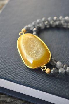 OH HONEY  grey agate and honey agate druzy charm by TERESAJEWELRY, $95.00 www.teresajewelry.etsy.com www.facebook.com/therartjewelry
