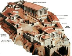 Parthenon:  Original placement/design of buildings atop the Acropolis, Athens, Greece. Ruins of the Parthenon remain. The architects were Iktinos (Ictinus) and Kallikrates (or Callicrates). Construction began in 447 BC and it was completed by 438 BC, while decorations were added until at least 432 BC