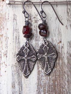 Rustic Cross Earrings Garnet Gemstone Artisan Pewter Cross Dangle Earrings Sterling SIlver Spiritual Earrings Nicki Lynn by NickiLynnJewelry on Etsy