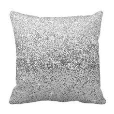 Silver Glitter Bling Sparkle Design Throw Pillows