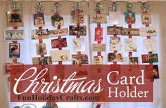 Holiday Crafts | Ribbon Christmas Card Holder | http://www.funholidaycrafts.com
