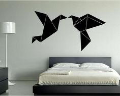 Origami Kissing Love Birds Vinyl Wall Decal Sticker Art Decor Bedroom Design Mural  birds inteior design geometric geometry by StateOfTheWall on Etsy https://www.etsy.com/listing/221701557/origami-kissing-love-birds-vinyl-wall