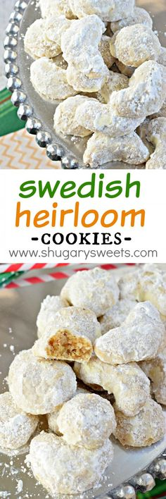 Whether you call these by Swedish Heirloom Cookies or by many of their other names (Snowballs, Mexican Wedding Cookies, Russian Tea Cakes), you just need to try this cookie recipe.