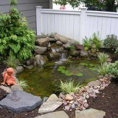 63 Comfy Minimalist Garden House With Fish Pond Ideas Outdoor Ponds, Ponds Backyard, Garden Ponds, Backyard Waterfalls, Pond Landscaping, Landscaping With Rocks, Pond Design, Garden Design, Landscape Design