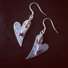 Ladies dangle and drop patterned heart earrings, includes sterling silver earring wires, burgundy glass pearls and purple bicone crystals - made with love xx A perfect gift for Valentines Day! Heart Earrings, Drop Earrings, Valentine Day Gifts, Valentines, Inspired By Charm, Drops Patterns, Sterling Silver Earrings, Dangles, Jewelry Design
