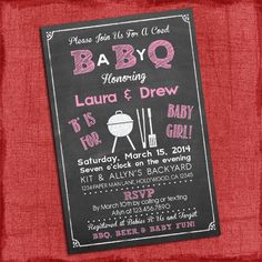Printable Baby Girl Q Baby Shower Invitation  by PuzzlePrints, $15.00