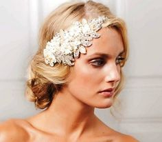 Bride's loose chignon bun bridal hair ideas  Toni Kami Wedding Hairstyles ♥ ❶ 20's Gatsby jeweled headpiece