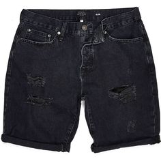 River Island Black washed ripped slim shorts (58 BRL) ❤ liked on Polyvore featuring men's fashion, men's clothing, men's shorts, shorts, bottoms, clothing - shorts, pants, sale, slim and tall mens clothing and slim fit mens clothing