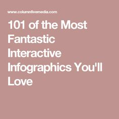 101 of the Most Fantastic Interactive Infographics You'll Love