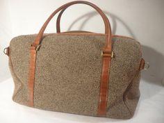 Vintage HARTMANN Brown Leather & Tweed Weekend Travel Bag
