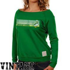 Original Retro Brand Oregon Ducks Ladies Green Open Neck Raglan Fleece Sweatshirt...want, want, want...