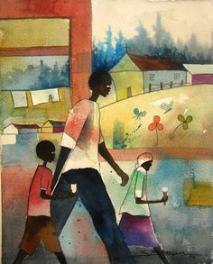 Food Truck Watercolor Print African American Art Contemporary