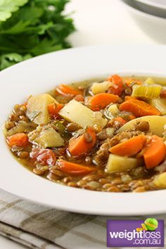 Brown Lentil & Vegetable Soup. #HealthyRecipes #DietRecipes #WeightLossRecipes weightloss.com.au