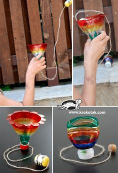 Such a clever and fun use of an old plastic bottle. The aim of the game is to put the fish into the shark's mouth, or to put the bee into the flower. A great summer craft project and game in one. What you will need: Plastic bottles Kinder surprise eggs(I am sure you can …
