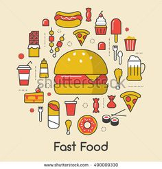Fast Food Line Art Thin Vector Icons Set with Burger Pizza and Junk Food Vector Icons, Vector Stock, Art Icon, Junk Food, Clipart, Icon Set, Line Art, Illustration