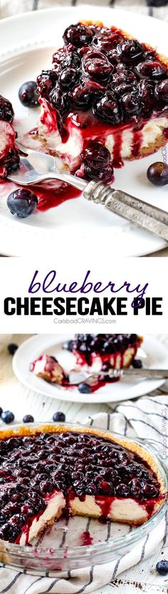 Blueberry Cheesecake Pie - This is my family's favorite summer dessert and its made extra easy in pie form! The cheesecake is creamy, rich and delicious and the homemade blueberry sauce is sweet and t (Easy Homemade Cheese)