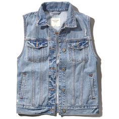 Abercrombie & Fitch Classic Denim Vest ($23) ❤ liked on Polyvore featuring outerwear, vests, jackets, tops, alice fabray, light wash, blue vest, blue denim vest, vest waistcoat and pocket vest