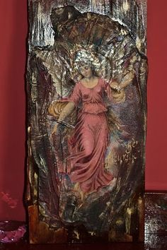 decoupage i jedwabie Ma. Different Kinds Of Art, Decoupage Furniture, Fish Art, Mural Art, Religious Art, Mixed Media Art, Madonna, Diy Plaster, Miniatures